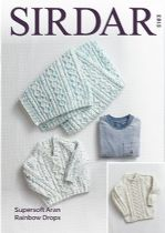 Sirdar Supersoft Aran Rainbow Drops Knitting Pattern - 5183 Sweaters & Blanket
